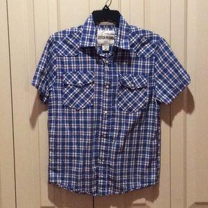 EUC Blue Plaid Snap-Down Front Short-Sleeve Shirt